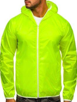 Жовто-неонова чоловіча демісезонна куртка з капюшоном вітровка BOLF 5060