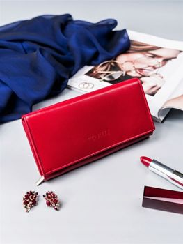 Жіночий шкіряний гаманець червона 2418