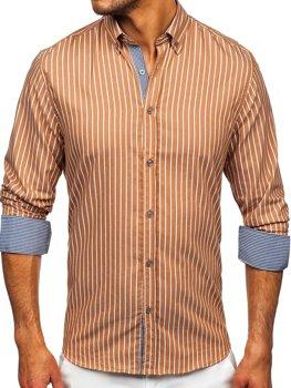 Коричнева чоловіча сорочка в смужку з довгим рукавом Bolf 20731