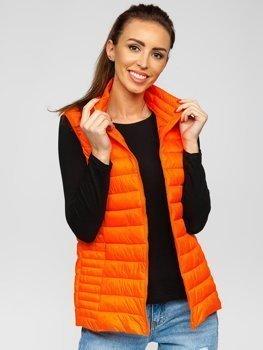 Оранжево-неоновий стьобаний жіночий жилет Bolf 23038