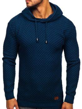 Светр чоловічий з капюшоном синій Bolf 7004