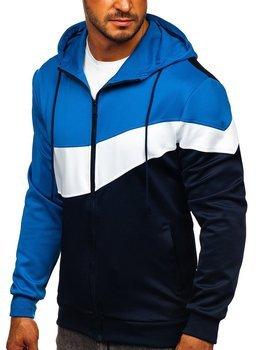 Синя чоловіча толстовка з капюшоном на блискавці Bolf HY753