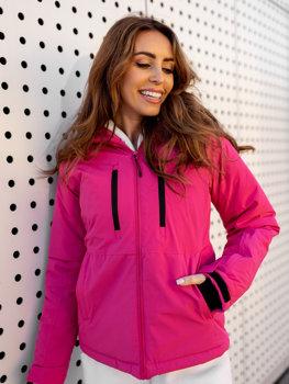 Темно-рожева зимова жіноча лижна куртка Bolf HH012