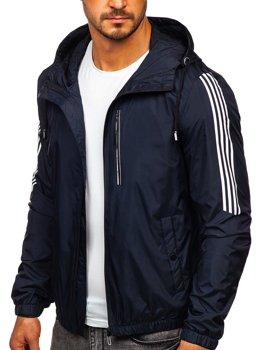 Темно-синя демісезонна чоловіча спортивна куртка з капюшоном Bolf 6172