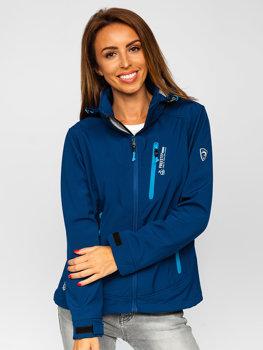 Темно-синя жіноча демісезонна куртка софтшелл Bolf AB003