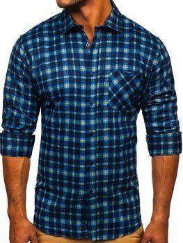 Темно-синя чоловіча фланелева сорочка з довгим рукавом Bolf F9
