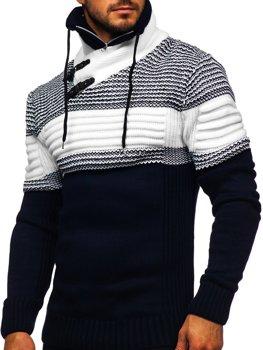 Темно-синій чоловічий светр товстої в'язки з коміром-стійкою Bolf 2002