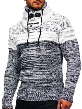Темно-синій чоловічий светр товстої в'язки з коміром-стійкою Bolf 2058