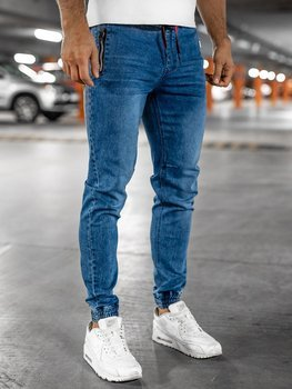 Темно-сині чоловічі джинсові штани джоггери BOLF HY678
