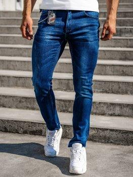 Темно-сині чоловічі джинсові штани regular fit з поясом Bolf 80029W0