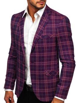 Фіолетова чоловічий повсякденний піджак у клітину Bolf 8080