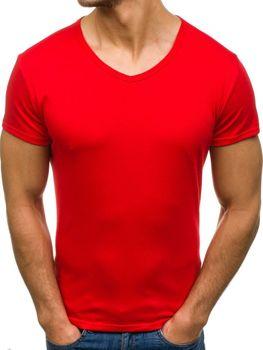 Червона чоловіча футболка без принта з v-подібним вирізом Bolf 2007
