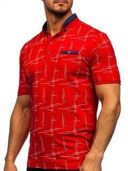 Червона чоловіча футболка поло з принтом Bolf 192232