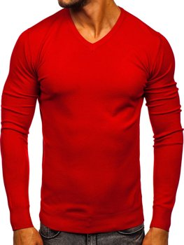 Червоний чоловічий светр з V-подібним вирізом Bolf YY03