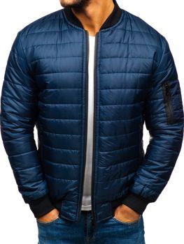 Чоловіча демісезонна куртка бомбер темно-синя Bolf AK84-A