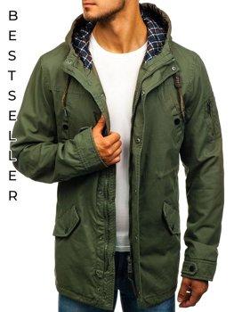 Чоловіча демісезонна куртка парка зелена Bolf 1818