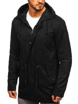 Чоловіча демісезонна куртка парка чорна Bolf 5391