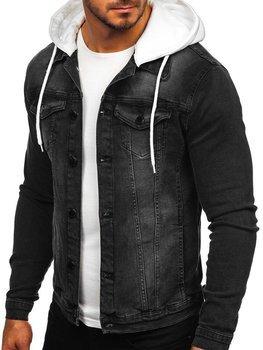 Чоловіча джинсова куртка з капюшоном чорна Bolf 605