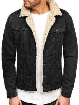 Чоловіча джинсова куртка чорно-біла Bolf 1901