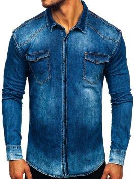 Чоловіча джинсова сорочка з довгим рукавом темно-синя Bolf 2063