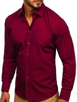 Чоловіча елегантна сорочка з довгим рукавом бордова Bolf 0001