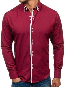 Чоловіча елегантна сорочка з довгим рукавом бордова Bolf 1721-A