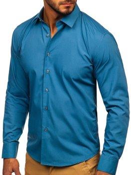 Чоловіча елегантна сорочка з довгим рукавом графітова Bolf 0001