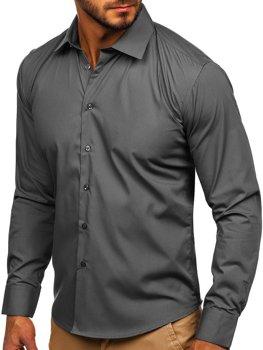 Чоловіча елегантна сорочка з довгим рукавом коричнева Bolf 0001