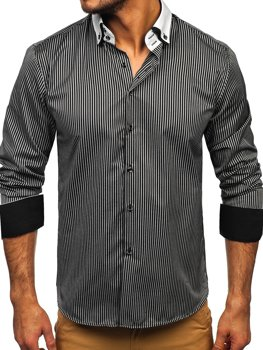Чоловіча елегантна сорочка у смужку з довгим рукавом, чорна Bolf 0909-A
