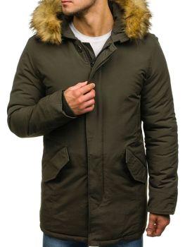 Чоловіча зимняя куртка парка зелена Bolf YT303