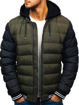 Чоловіча зимова куртка бомбер зелена Bolf 5366