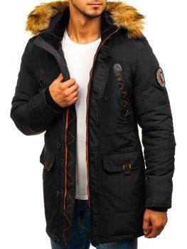 Чоловіча зимова куртка парка чорна Bolf 5312
