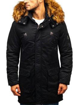 Чоловіча зимова куртка парка чорна Bolf R107