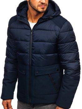 Чоловіча зимова куртка темно-синя Bolf B1280