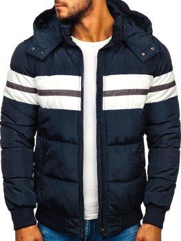 Чоловіча зимова спортивна куртка темно-синя Bolf JK397