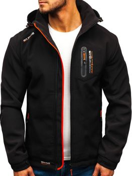 Чоловіча куртка софтшелл чорно-помаранчева Bolf P5608