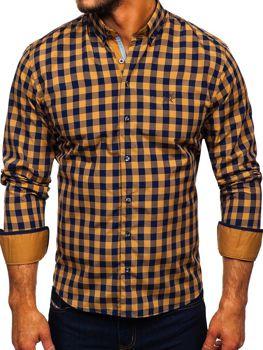 Чоловіча сорочка в клітку з довгим рукавом кемел Bolf 4701