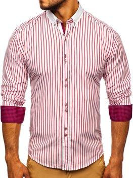 Чоловіча сорочка в смужку з довгим рукавом червона Bolf 9713