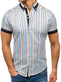 Чоловіча сорочка в смужку з коротким рукавом мультиколор Bolf 5204B