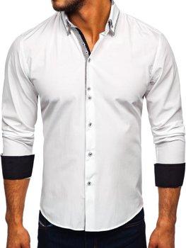Чоловіча сорочка елегантна з довгим рукавом біла Bolf 6929-а