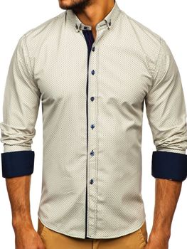 Чоловіча сорочка з візерунком та довгим рукавом бежева Bolf 9707