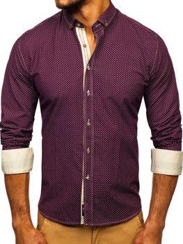 Чоловіча сорочка з візерунком та довгим рукавом бордова Bolf 9707