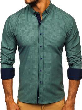 Чоловіча сорочка з візерунком та довгим рукавом зелена Bolf 9707