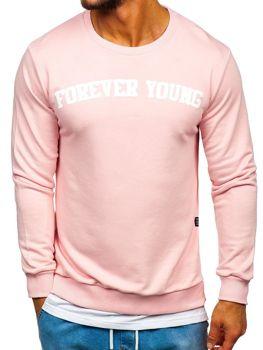 Чоловіча толстовка без капюшона з принтом FOREVER YOUNG рожева Bolf 11116