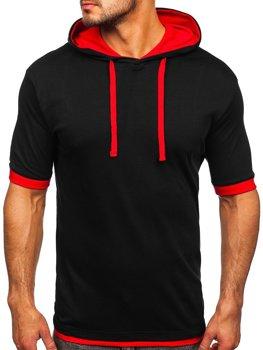 Чоловіча футболка без принта чорно-червона Bolf 08