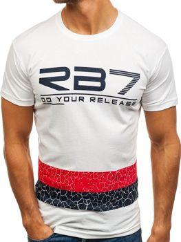 Чоловіча футболка з принтом біла Bolf 0008