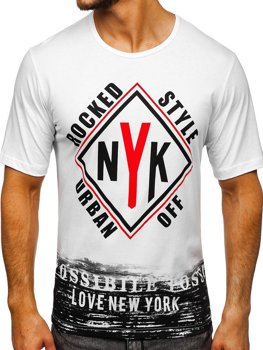 Чоловіча футболка з принтом біла Bolf 6305