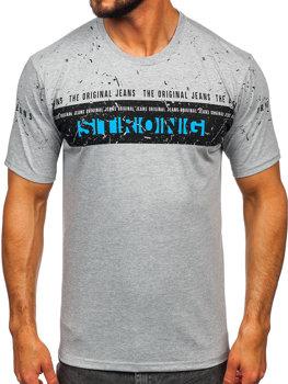 Чоловіча футболка з принтом сіра Bolf 14204