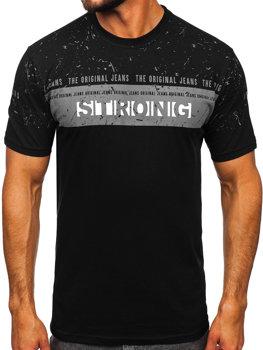 Чоловіча футболка з принтом чорна Bolf 14204