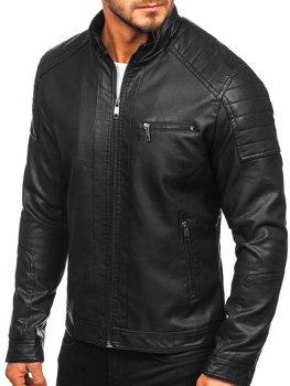 Чоловіча шкіряна куртка байкер чорна Bolf 88903